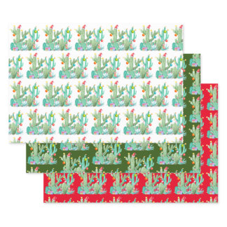 Holiday Cactus Cacti Desert  Christmas Wrapping Paper Sheets