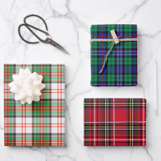 Holiday Christmas Scottish Tartan Plaid Assorted Wrapping Paper Sheets