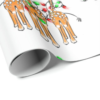 Holiday Giraffes, twinkle red and green lights Wrapping Paper