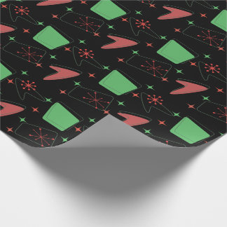 Holiday Retro Atomic Pattern on Black Wrapping Paper