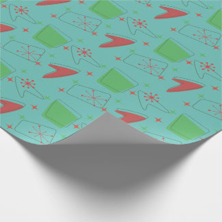 Holiday Retro Atomic Pattern on Teal Wrapping Paper