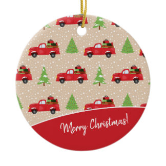 Holiday Tree with Vintage Truck Merry Christmas Ceramic Ornament