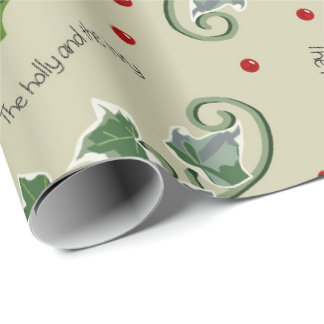 Holly and the Ivy Christmas Carol on Cream Wrapping Paper