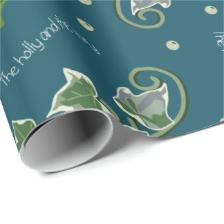 Holly and the Ivy Christmas Carol on Eden Blue Wrapping Paper