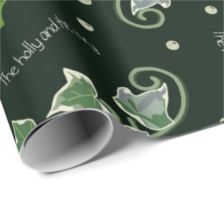 Holly and the Ivy Christmas Carol on Holly Green Wrapping Paper