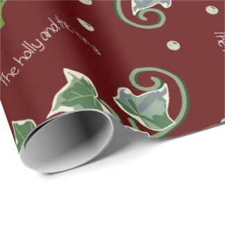 Holly and the Ivy Christmas Carol on Red Wrapping Paper