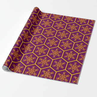 Honeycomb drawing pattern with royal flower wrapping paper