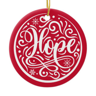 Hope Personalized Family Christmas Holiday Red Ceramic Ornament