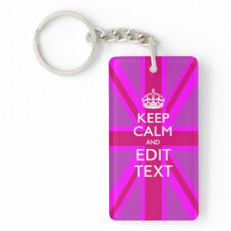 Hot Pink Your Keep Calm Edit Text Union Jack Keychain