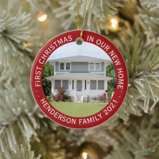 House Photos First Xmas New Home Name & Year Red Ceramic Ornament