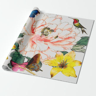 HUMMINGBIRD AND FLOWER WRAPPING PAPER