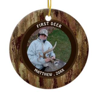 Hunter FIRST DEER Photo Brown Camouflage Ceramic Ornament