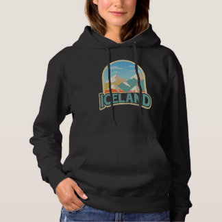 Iceland Retro Vintage Gift Hiking Lover mountains Hoodie