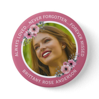 In Loving Memory Floral | Teal Photo Memorial Button