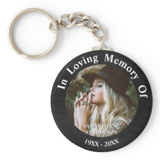 In Loving Memory Photo Remembrance Memorial Button Keychain