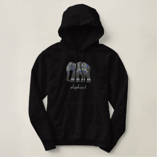 Indian Elephant Embroidered Hoodie or Jacket
