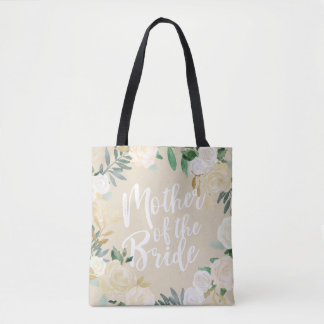Ivory Floral Wedding Party Mother of Bride Custom Tote Bag