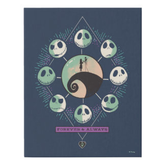 Jack & Sally Moon Phases - Forever & Always Faux Canvas Print