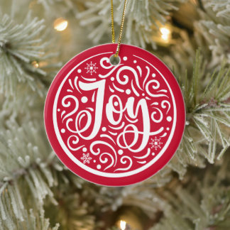 Joy Personalized Family Name Christmas Holiday Red Ceramic Ornament