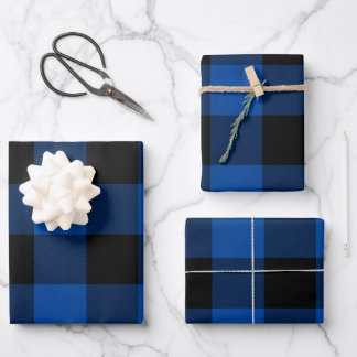 Just Blue and Black Buffalo Plaid Christmas Wrapping Paper Sheets