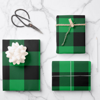 Just Green and Black Buffalo Plaid Christmas Wrapping Paper Sheets