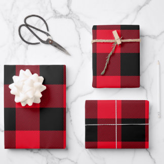 Just Red and Black Buffalo Plaid Christmas Wrapping Paper Sheets