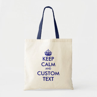Keep Calm And [Custom Text] navy color Tote Bag