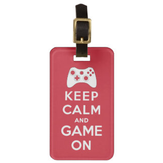 Keep calm and game on luggage tag