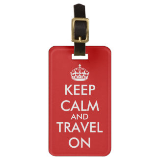 Keep calm and travel on luggage tag   Red color