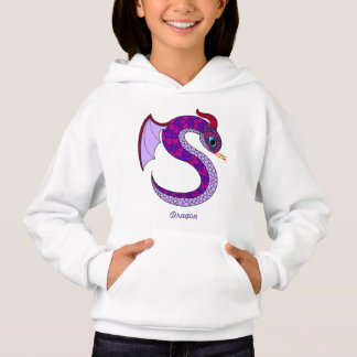 Kids pullover hooded shirt with purple dragon
