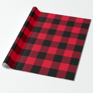 Large Red and Black Chevron Buffalo Plaid Wrapping Paper
