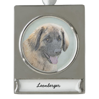 Leonberger Painting - Cute Original Dog Art Silver Plated Banner Ornament