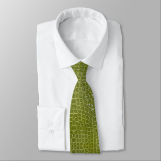 Lime Green Alligator Faux Leather Neck Tie