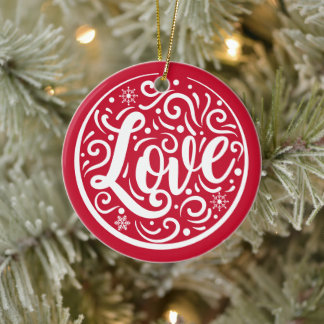 Love Customized Couple Photo Christmas Holiday Red Ceramic Ornament