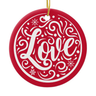 Love Personalized Couple Christmas Holiday Red Ceramic Ornament