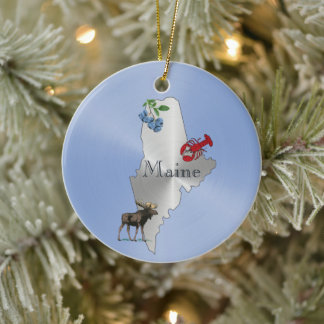 Maine Silver Blueberry Lobster Moose Ceramic Ornament