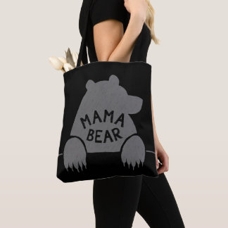 Mama Bear Silhouette Big Claws Grey Simple Cool Tote Bag