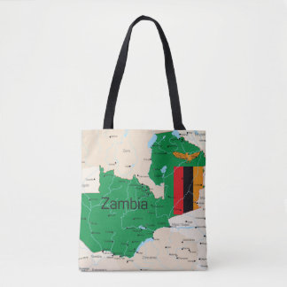 Map Of Zambia Tote Bag