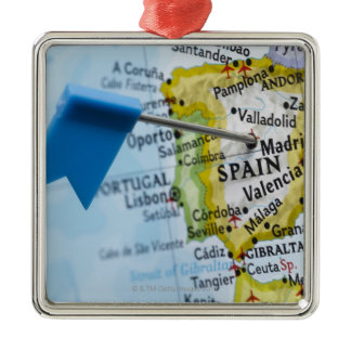 Map pin placed in Madrid, Spain on map, close-up Metal Ornament