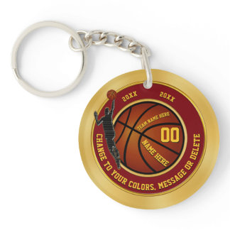 Maroon and Gold Personalized Basketball Keychains