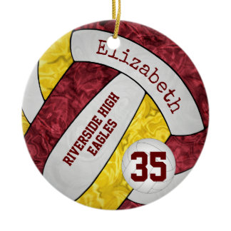 Maroon gold girly volleyball team colors ceramic ornament