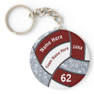 Maroon, White, Silver Cheap Volleyball Keychains
