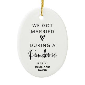 Married During a Pandemic | Photo Back Ceramic Ornament