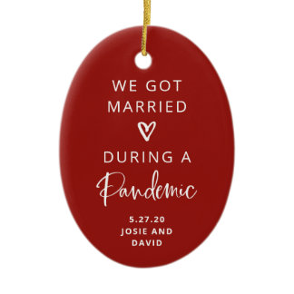 Married During a Pandemic | Red with Photo Back Ceramic Ornament