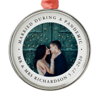 Married During Pandemic | Black and White Photo Metal Ornament