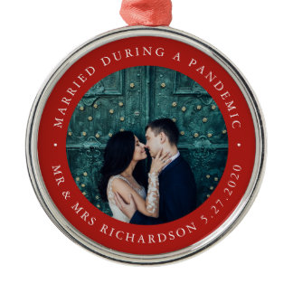 Married During Pandemic | Red with Photo Metal Ornament