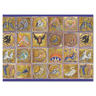 MEDIEVAL BESTIARY, FANTASTIC ANIMALS,GOLD RED BLUE TISSUE PAPER