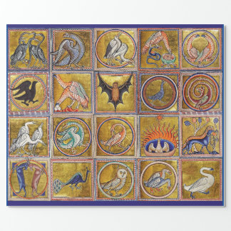 MEDIEVAL BESTIARY, FANTASTIC ANIMALS,GOLD RED BLUE WRAPPING PAPER