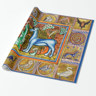 MEDIEVAL BESTIARY,UNICORN,FANTASTIC ANIMALS WRAPPING PAPER