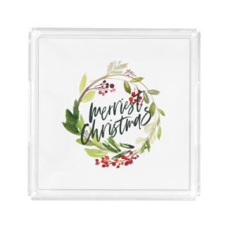 merriest christmas watercolor red berry foliage acrylic tray